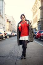 gray coat - ivory skirt - orange jumper