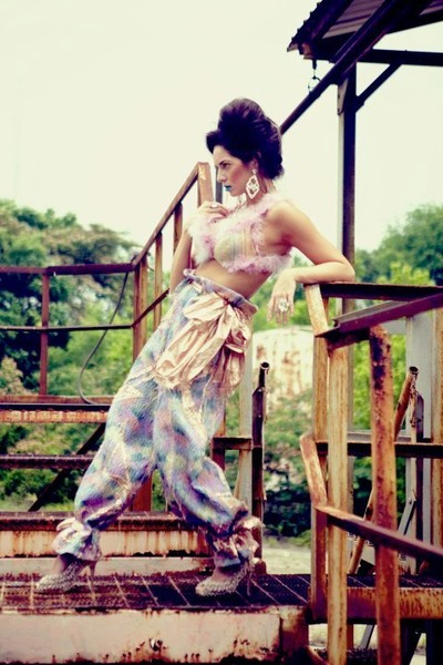 aquamarine Karolyne Ashley pants - Karolyne Ashley bra