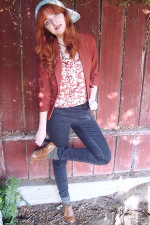bronze Macys shoes - burnt orange Forever21 blazer - periwinkle vintage scarf