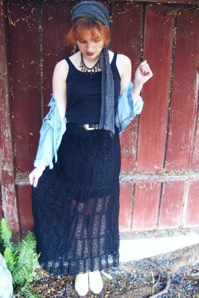 light blue thrifted jacket - charcoal gray gift scarf - black Macys skirt