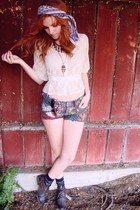 light purple vintage scarf - navy DIY shorts - f21 blouse