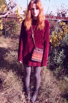 crimson vintage sweater - purple World Market purse
