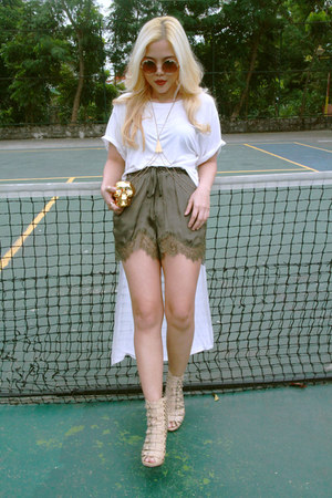 white cotton landmark shirt - green silk H&M shorts - neutral Bazaar heels