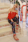 Navy-aztec-forever-21-jeans-red-off-shoulders-bazaar-top-red-zara-heels