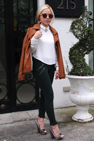 white Bershka blouse - tawny Stradivarius coat - forest green Zara leggings