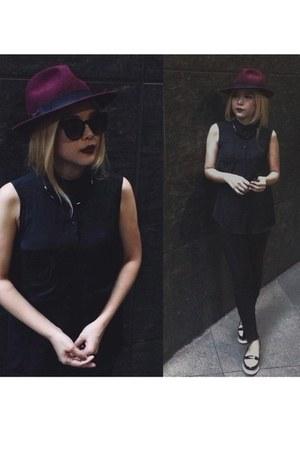 black leggings Zara leggings - crimson Forever21 hat - black Bazaar sunglasses