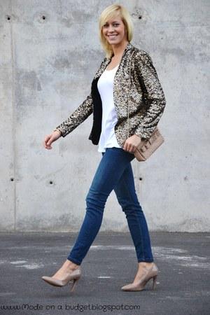 navy Zara jeans - bronze Zara blazer - tan Zara bag - tan Mango heels