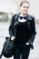 black Stradivarius jacket - black Secondhand sweater - navy diy tie