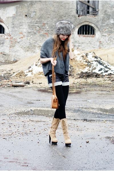 black leather Wholesale-Dress shorts - charcoal gray romwe sweater