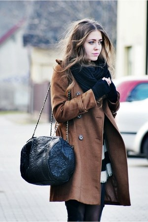 black Mango bag - brown romwe coat