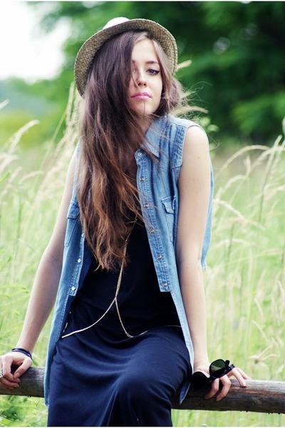 black maxi vintage dress - sky blue jeans vintage vest