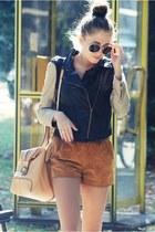 romwe jacket - vintage shorts - romwe romper