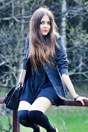 black romwe Zara dress - dark gray romwe jacket - black Calzedonia socks