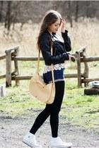 off white crochet romwe top - black leather H&M jacket