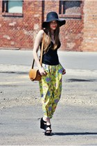 black H&M hat - tawny Zara bag - yellow vintage pants