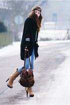 romwe bag - stylowebutki shoes - Bershka jeans - leopard print vintage sweater