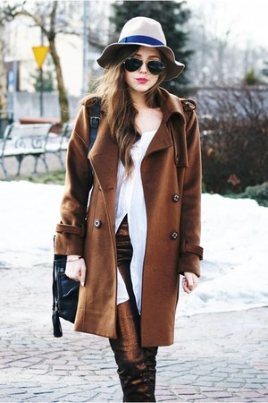 romwe coat - Stradivarius hat - Ray Ban sunglasses - H&M pants