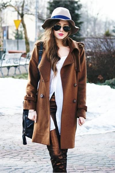 romwe coat - Stradivarius hat - Ray Ban sunglasses - H&M pants