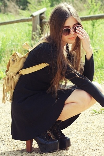 black Jeffrey Campbell shoes - black dress