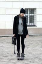 H&M coat - Bata shoes - no name leggings - vintage bag