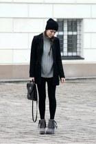 H&M coat - Bata shoes - no name leggings - vintage bag
