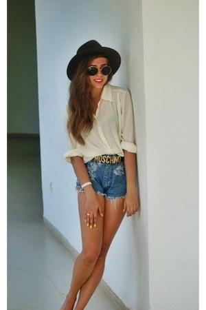 white Marks&Spencer shirt - blue Wrangler jeans