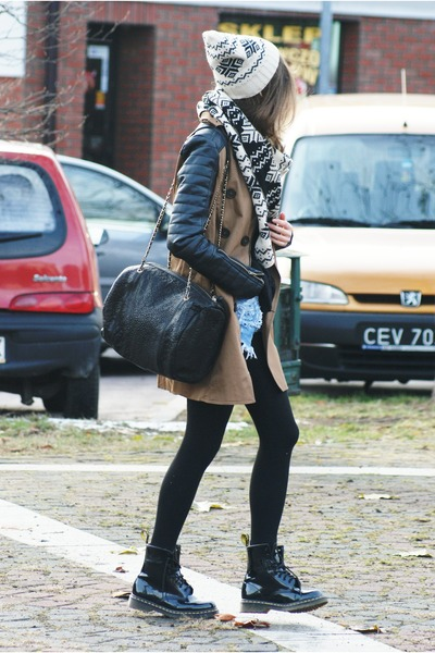 light brown Stradivarius coat - black Dr Martens shoes - black Mango bag