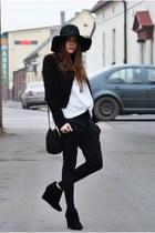 black romwe jacket - black Sfera bag - black romwe pants - black monashe wedges