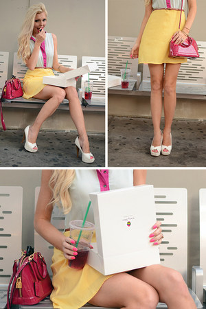 hot pink pink Louis Vuitton bag - light yellow color block Im Haute dress