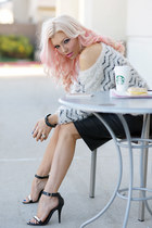 faux leather Im Haute skirt - soft Im Haute sweater - ankle strap Im Haute heels