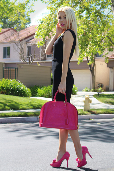 pencil French Connection dress - hot pink Louis Vuitton heels
