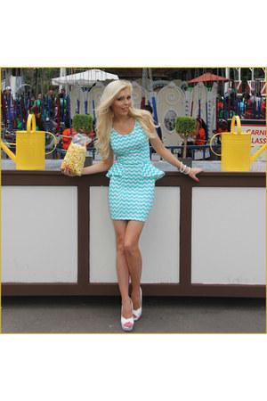 peplum Im Haute dress - pearl Forever21 bracelet - peep toe Quipid heels