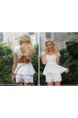 white peplum Im Haute top - white crochet Im Haute shorts