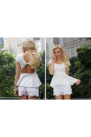 white peplum Im Haute top - white crochet Im Haute shorts
