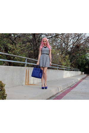 blue Celine bag - houndstooth Le Tote dress - statement Forever 21 necklace