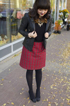 plaid skirt vintage skirt - leather coat soia & kyo jacket