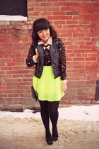 yellow Urban Outfitters skirt - black pink martini blouse