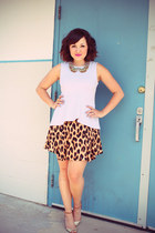 peplum H&M top - glitter JCrew heels - leopard Motel Rocks skirt