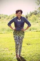 floral pants H&M pants - denim shirt Joe Fresh top