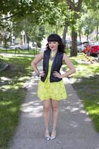 leather vest Forever 21 vest - neon sunflower She Inside dress