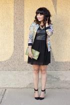 light pink maison scotch jacket - black leather dress Kersh dress