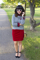 Old Navy sweater - cord red skirt Anthropologie skirt