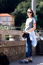 Stussy t-shirt - Topshop jeans - Levis shirt - New Balance sneakers