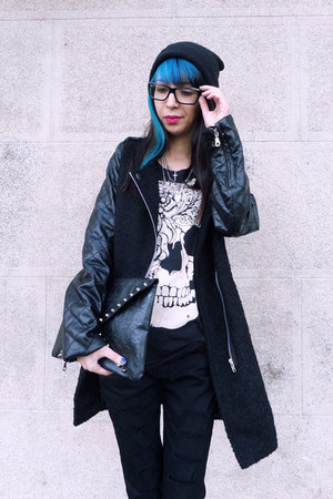 black PERSUNMALL boots - black lookbookstore coat - black lookbookstore jeans