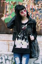 leather studded romwe jacket - ripped tbdress jeans - studded tbdress bag