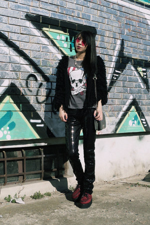 black sequin I love sexy leggings - skull Vesst t-shirt