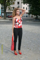 ruby red Carpisa bag - black H&M pants - ruby red cotton Principles Petite top