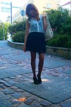 black lace Tally Weijl skirt - black Zara shoes - off white shirt - black tights