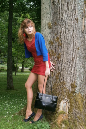 black leather Prada purse - ruby red New Yorker dress - blue sweater