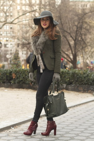 crimson leather Bebe boots - gray flea market hat - forest green Zara blazer